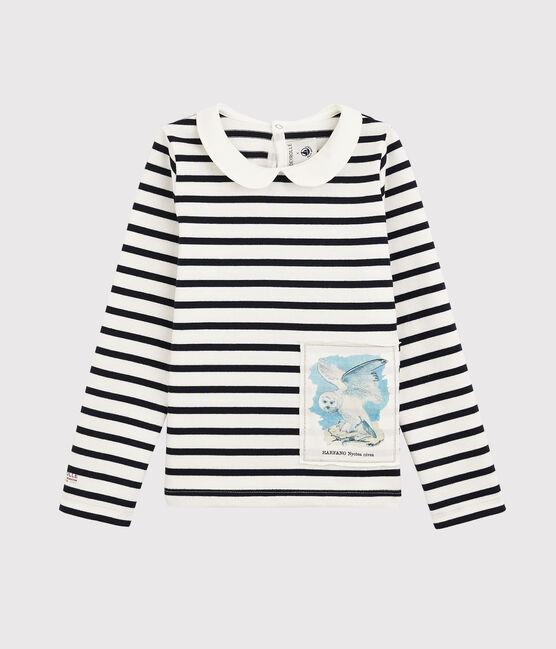 Petit Bateau x Deyrolle Girls' Breton Top Marshmallow white / Smoking blue