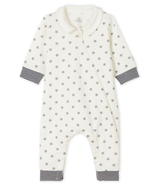 Babies' starry sleepsuit in cotton Marshmallow white / Gris grey