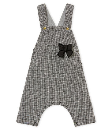 Baby girl's herringbone cotton tubic dungarees