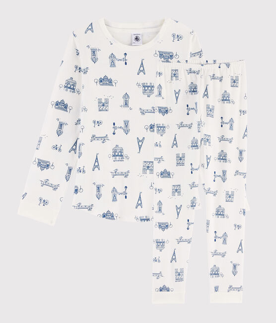 Children's Paris Print Ribbed Pyjamas Marshmallow white / Major blue