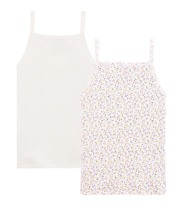 Girls' Cotton/Linen Strappy Tops - 2-Piece Set . set