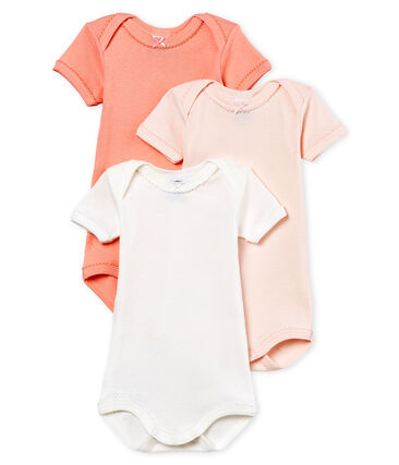 Baby Girls' Short-Sleeved Cotton and Linen Bodysuit - Set of 3