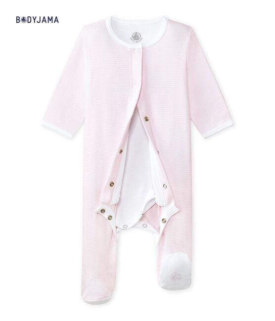 Unisex baby bodyjama Vienne pink / Ecume white