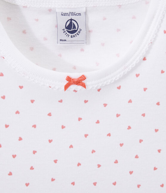 Girl's heart print nightshirt Ecume white / Rose pink