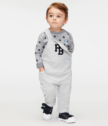Baby Boys' Long Dungarees in Velour Knit