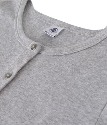 Women's long-sleeved V-neck striped tee Fumee Chine grey