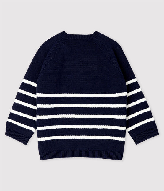 Baby Boys' Knit Cotton and Linen Blend Pullover Smoking blue / Marshmallow white