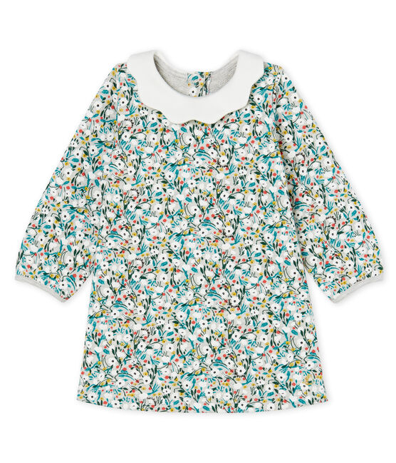 Baby Girls' Long-Sleeved Print Dress Beluga grey / Multico white