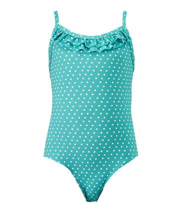 Girl's one-piece polka dot swimsuit Verde green / Marshmallow white