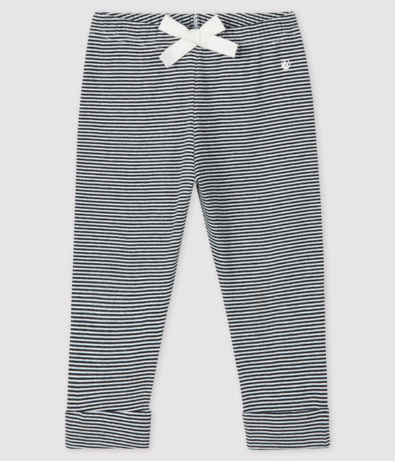 Baby girl's pinstriped trousers Smoking blue / Marshmallow white