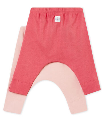 Unisex baby's set of two leggings in plain brushed soft cotton