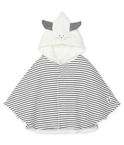Babies' Classic Cape in Padded Rib Knit Marshmallow white / Smoking blue
