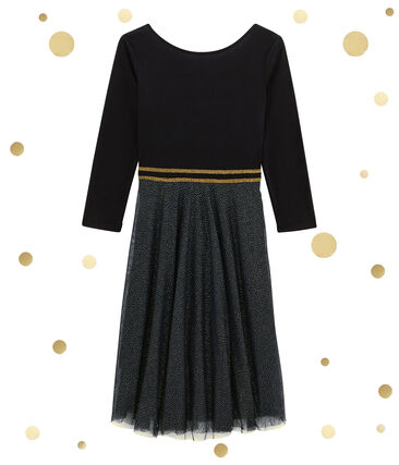 women's dual fabric dress Noir black / Dore yellow
