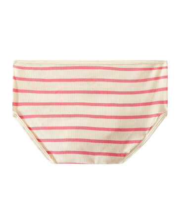 High-waisted pants with 2x2 ribbing Coquille beige / Petal pink