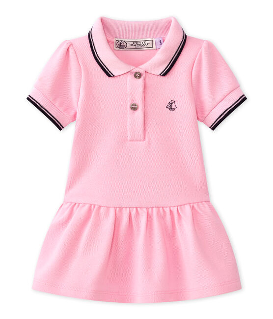 Baby girl's short-sleeved dress Babylone pink