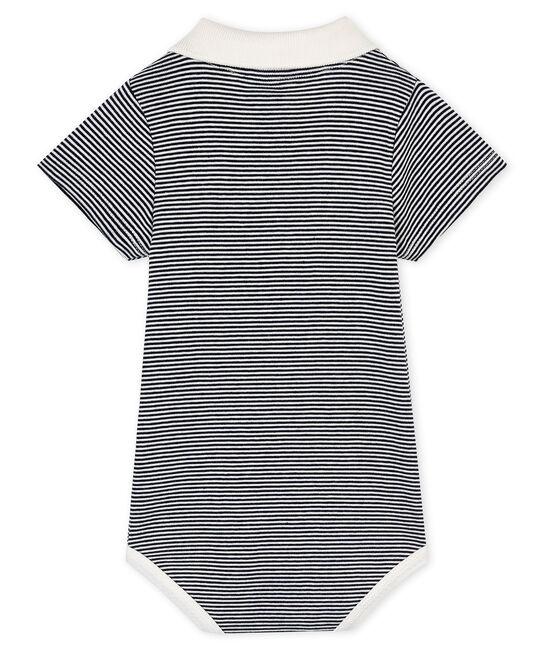 Baby boys' bodysuit with polo shirt collar Smoking blue / Marshmallow white