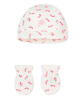 Newborn Babies' Bonnet and Mittens Set in Rib Knit . set