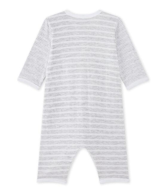 Baby boy's footless sleepsuit Poussiere grey / Ecume white