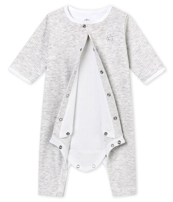 Baby's footless sleepsuit with built in bodysuit Beluga grey / Ecume white
