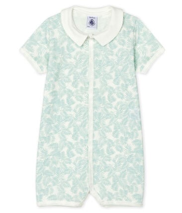 Baby Boys' Ribbed Playsuit Marshmallow white / Crystal blue
