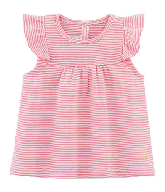 Baby girls' striped blouse Joue pink / Ecume white