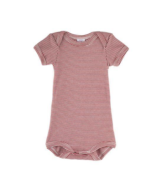 Baby Boys' Short-Sleeved Bodysuit Carmin red / Marshmallow white