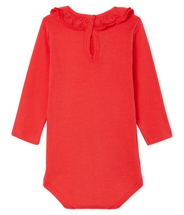 Long-sleeved bodysuit with ruff collar for baby girls Signal red