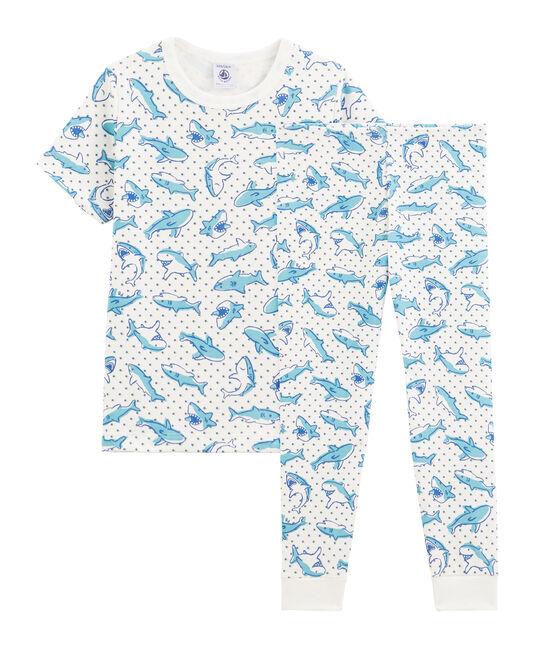 Boys' Shark Print Cotton Pyjamas Marshmallow white / Multico white