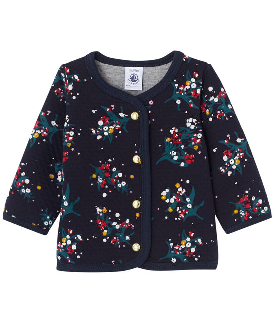 Baby girl's printed double knit cardigan Smoking blue / Multico white
