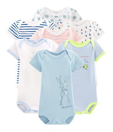 Surprise pack of 7 short-sleeved bodysuits for baby boys
