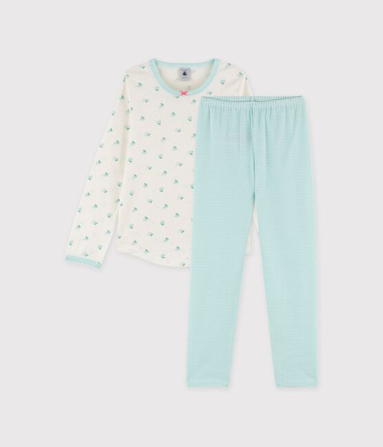 Girls' Birds Print Ribbed Pyjamas Marshmallow white / Multico white