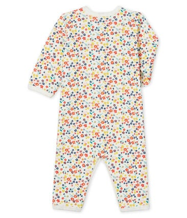 Baby Girls' Footless Ribbed Sleepsuit Marshmallow white / Multico white