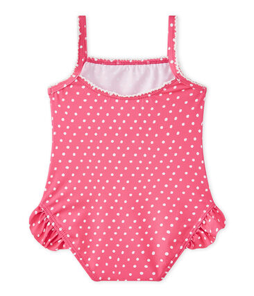 Baby girl's polka dot swimsuit Petunia pink / Marshmallo white