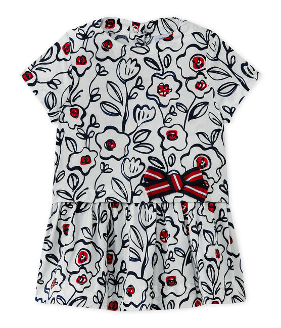 Baby girls' print dress Marshmallow white / Multico white