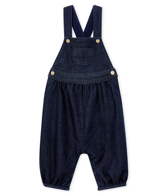 Baby girl's soft denim dungarees Denim Bleu Fonce blue