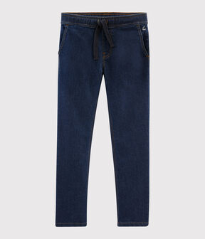 Boys' Denim Fleece Trousers Denim Bleu Fonce blue