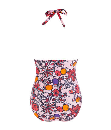 Eco-friendly 1-piece swimsuit Patience pink / Multico white