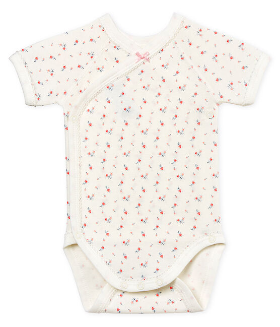 Baby Girls' Short-Sleeved Newborn Bodysuit Marshmallow white / Multico white