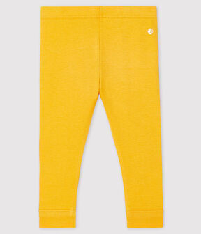 Baby girl's leggings in plain 1x1 rib knit Boudor yellow