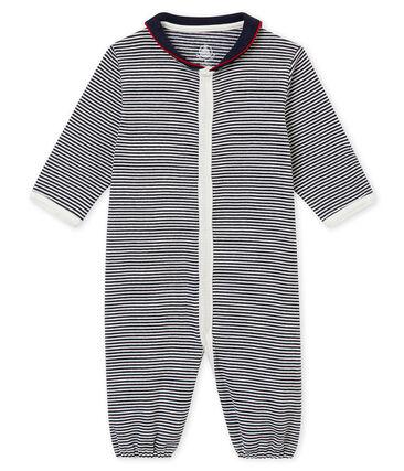 Baby boy's long sleeved combi sleepsuit in milleraies cotton