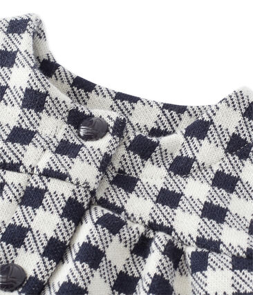 Baby girl's gingham cardigan Smoking blue / Coquille beige