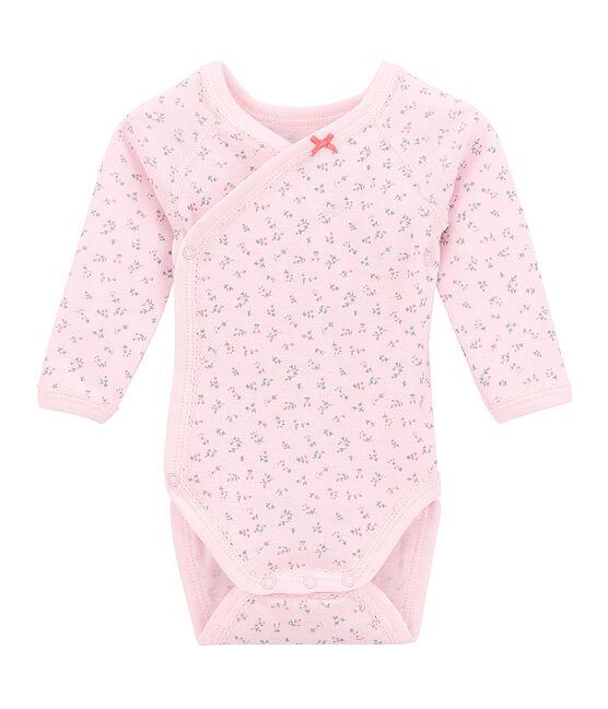 Newborn baby girls' long-sleeved printed bodysuit Vienne pink / Multico white