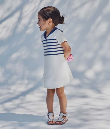 Baby girl's heavyweight jersey dress Marshmallow white / Smoking blue