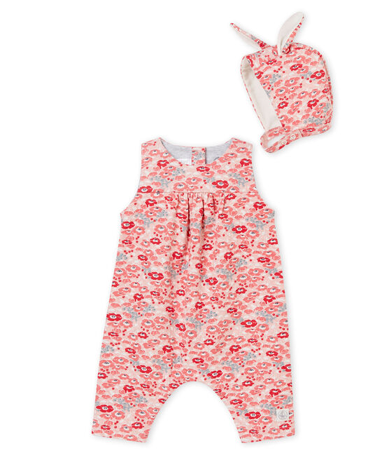 Baby girl's long dungarees and bonnet . set