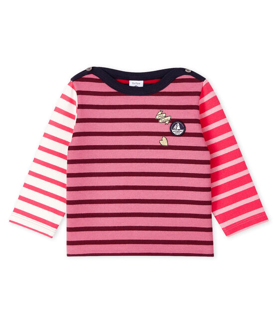 Upcycled baby girls' long-sleeved Breton top Cheek pink / Multico white