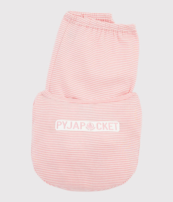 Girls' pinstriped ribbed pyjamas. Gretel pink / Marshmallow white