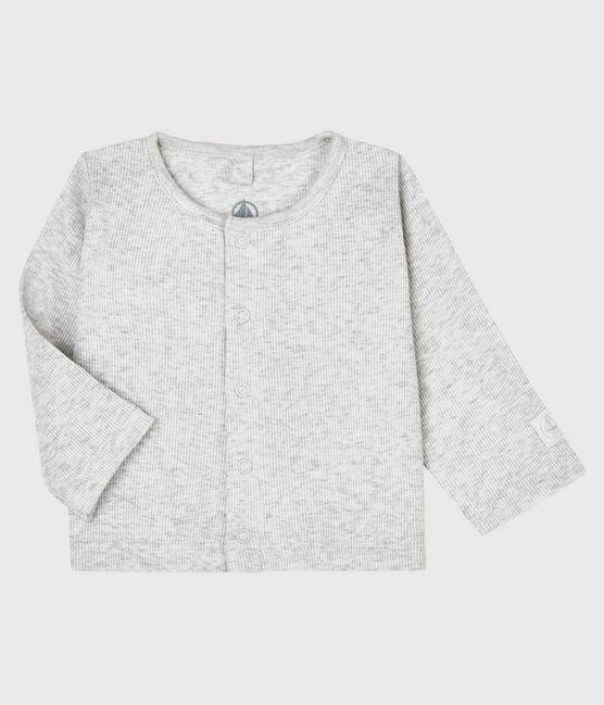 Baby cardigan in cotton rib Beluga grey