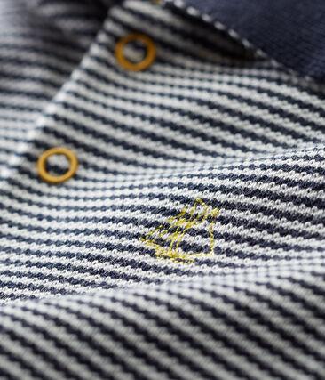 Baby boys' polo shirt in pinstriped piqué