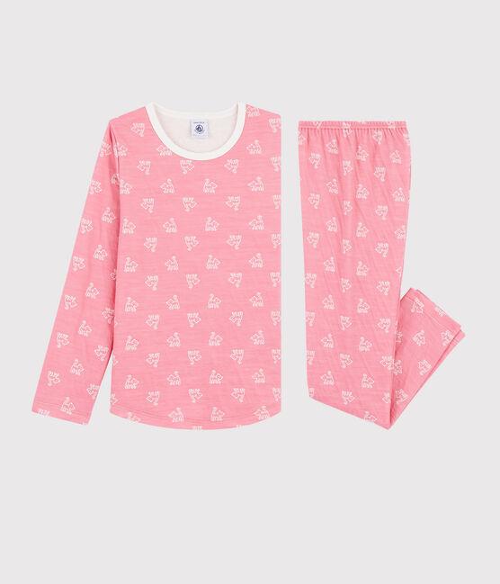 Girls' Jacquard Cats Pyjamas in Wool and Cotton Cheek pink / Marshmallow white