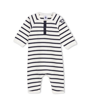 Baby boy coverall in striped heavy jersey Coquille beige / Abysse blue